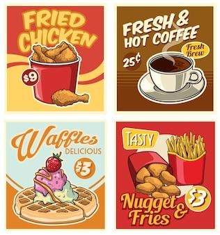 Coleção de design de fast food em estilo retro