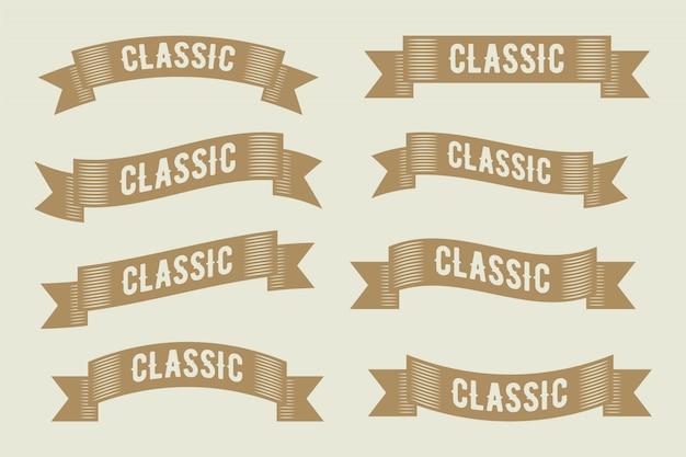 Coleção de design de fita de quadro de rótulo vintage de luxo