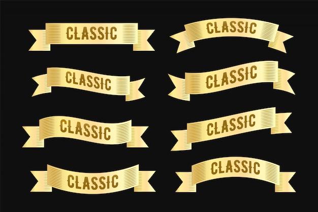 Coleção de design de fita de quadro vintage rótulo dourado de luxo