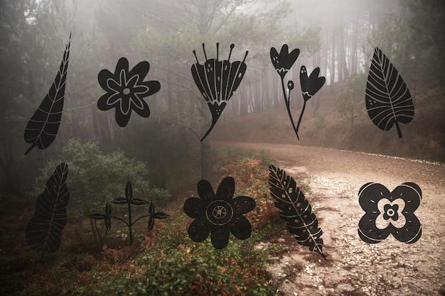 Coleção de design de folhas e paisagem da floresta