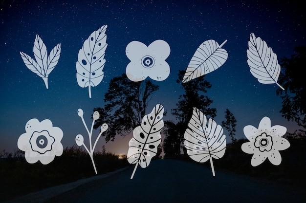 Coleção de design de folhas e paisagem de estrada noturna