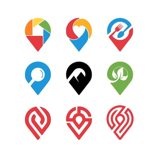 Coleção de design de ícone de marca de alfinete