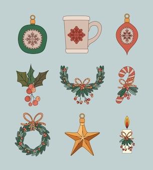 Coleção de design de ilustração de elementos planos de natal