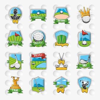 Coleção de design de ilustração de emblemas, escudos e etiquetas de golfe