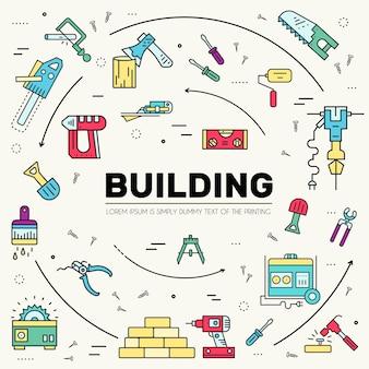Coleção de design de itens de ícones de ferramentas de trabalho