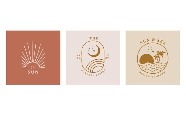 Coleção de design de linha com sol, mar, onda. ilustração em vetor editável para site, adesivo, tatuagem, ícone