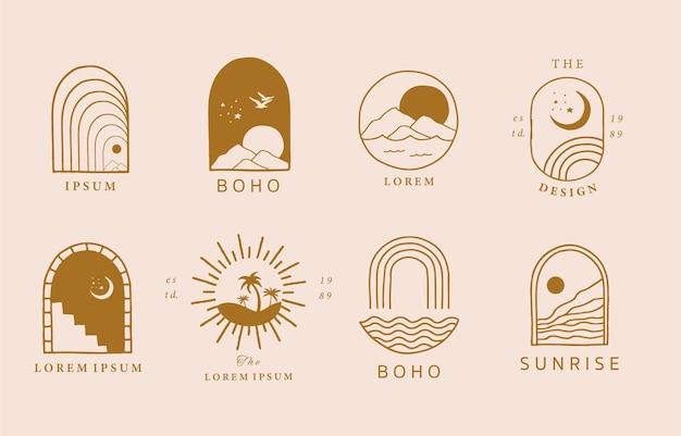 Coleção de design de linha com sol, mar, ondas.