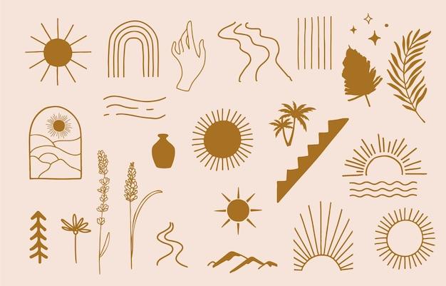 Coleção de design de linha com sol, montanha. ilustração em vetor editável para site, adesivo, tatuagem, ícone