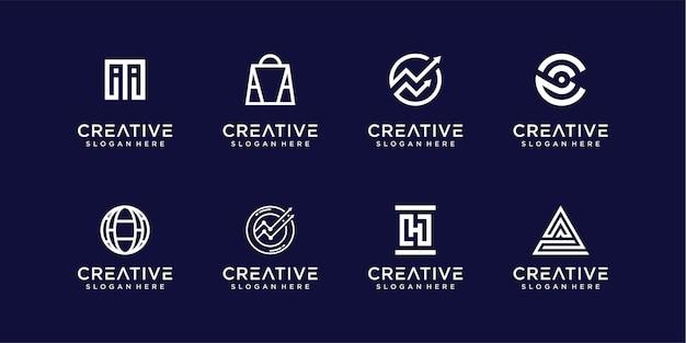 Coleção de design de logotipo abstrato de monograma moderno