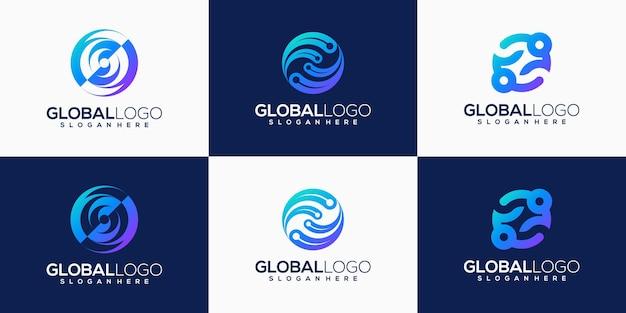 Coleção de design de logotipo abstrato para empresa de tecnologia