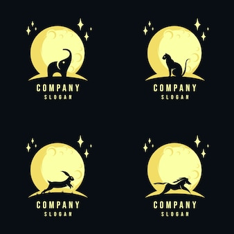 Coleção de design de logotipo animal e lua