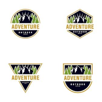 Coleção de design de logotipo ao ar livre de montanha