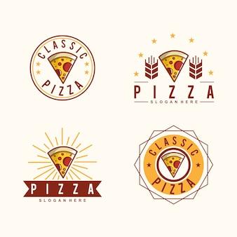Coleção de design de logotipo clássico de pizza