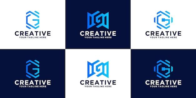 Coleção de design de logotipo com monograma de letra g