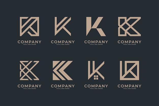 Coleção de design de logotipo com monograma letra k