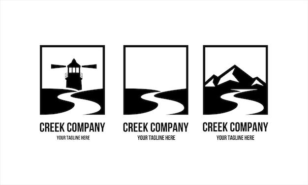 Coleção de design de logotipo da creek company