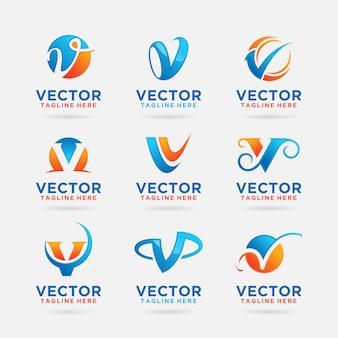 Coleção de design de logotipo da letra v