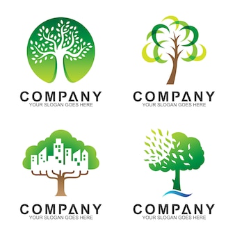 Coleção de design de logotipo de árvore