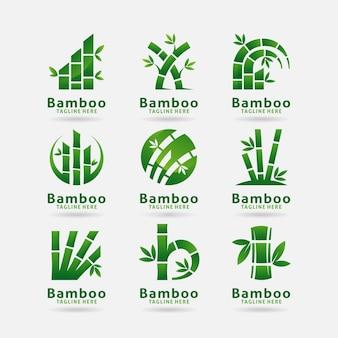 Coleção de design de logotipo de bambu