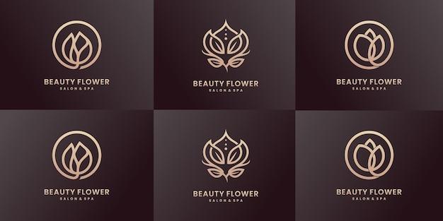 Coleção de design de logotipo de beleza de arte de linha de luxo