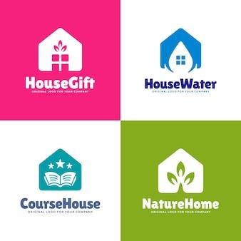 Coleção de design de logotipo de casa abstrata com quatro conceitos diferentes