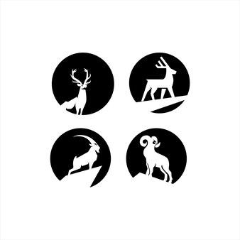 Coleção de design de logotipo de cervos e cabras