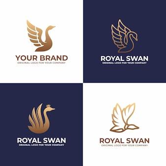 Coleção de design de logotipo de cisne de luxo.