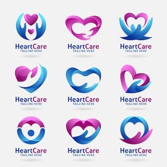 Coleção de design de logotipo de cuidados de coração