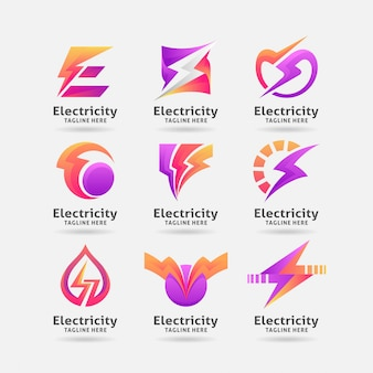 Coleção de design de logotipo de eletricidade