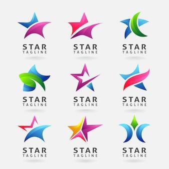 Coleção de design de logotipo de estrela de negócios