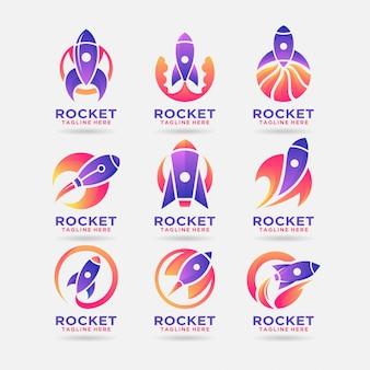 Coleção de design de logotipo de foguete