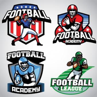 Coleção de design de logotipo de futebol americano