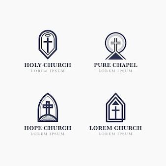 Coleção de design de logotipo de igreja