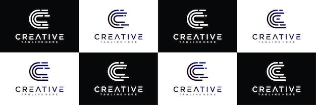 Coleção de design de logotipo de impressão digital letra c.