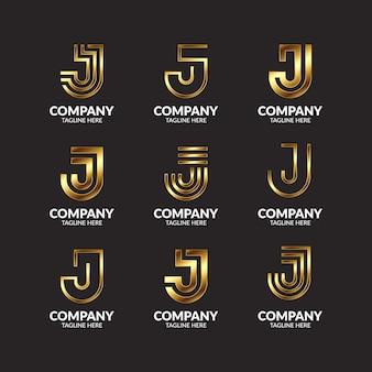 Coleção de design de logotipo de luxo com monograma dourado letra j