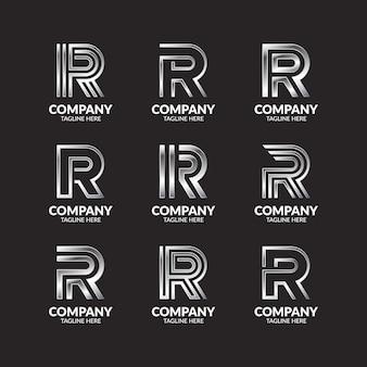 Coleção de design de logotipo de luxo em prata com monograma letra r