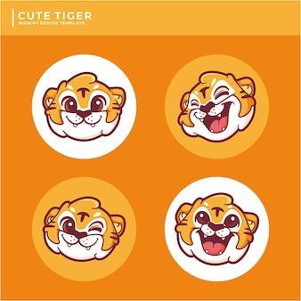Coleção de design de logotipo de mascote de tigre fofo