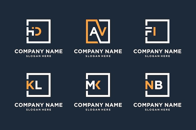 Coleção de design de logotipo de monograma com símbolos quadrados.