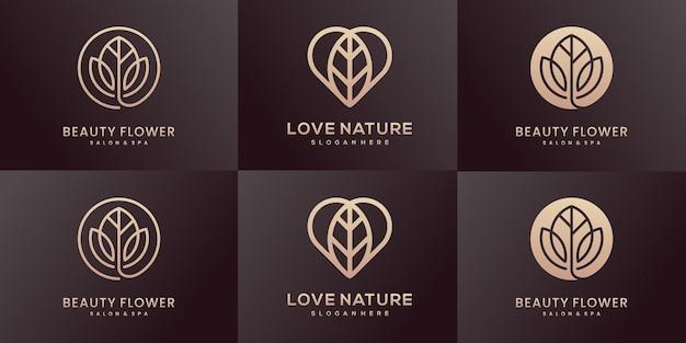 Coleção de design de logotipo de natureza luxuosa.