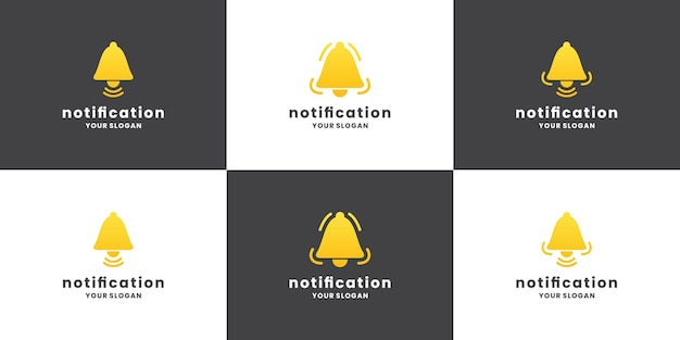 Coleção de design de logotipo de notificação de sino. definir notificação de ícone.
