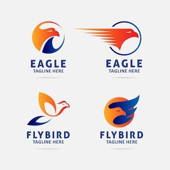 Coleção de design de logotipo de pássaro de águia