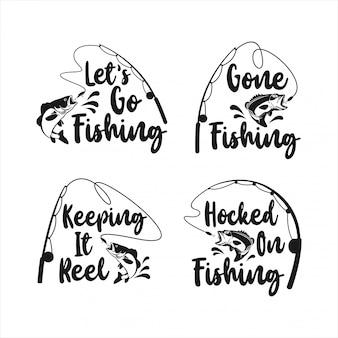 Coleção de design de logotipo de pesca de letras