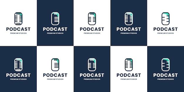 Coleção de design de logotipo de podcast, registro de estúdio vetorial