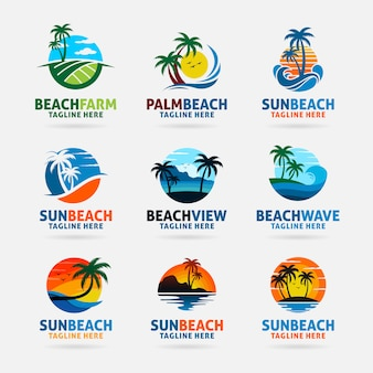 Coleção de design de logotipo de praia