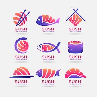 Coleção de design de logotipo de sushi