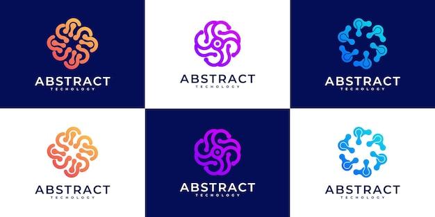 Coleção de design de logotipo de tecnologia abstrata