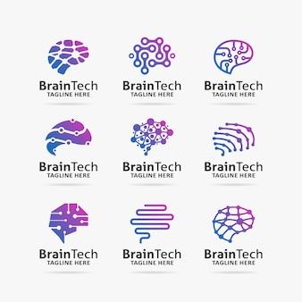 Coleção de design de logotipo de tecnologia de cérebro