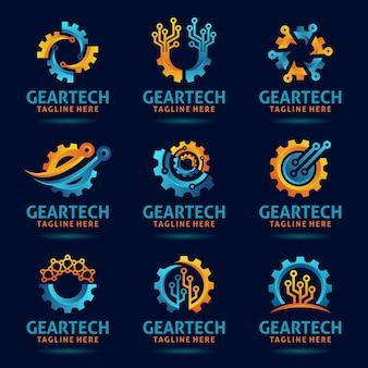 Coleção de design de logotipo de tecnologia de engrenagem