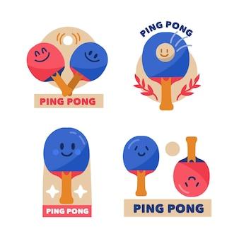 Coleção de design de logotipo de tênis de mesa