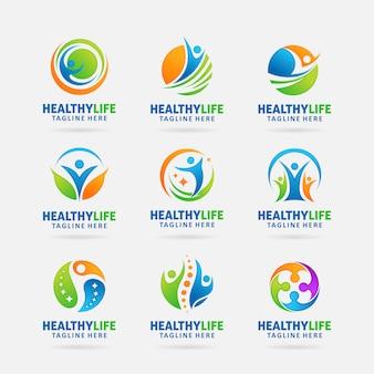 Coleção de design de logotipo de vida saudável